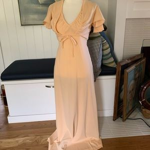 1970's Peach Colored Maxi Dress With Cover